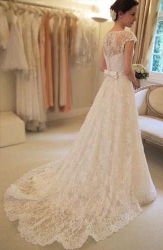 Nuevo white/ivory Encaje Vestido De Novia vestido de boda tamaño ...