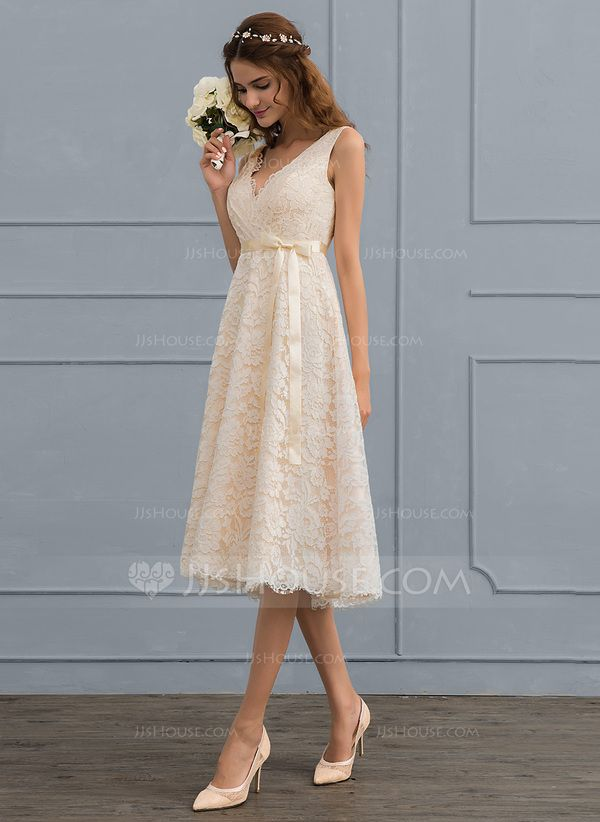 [€ 156.00] A-Linie V-Ausschnitt Knielang Spitze Brautkleid mit Schleife(n) - JJ's House #civilweddingdresses