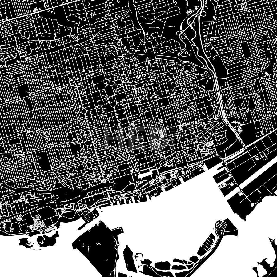 Toronto Canada downtown map dark HEBSTREITS