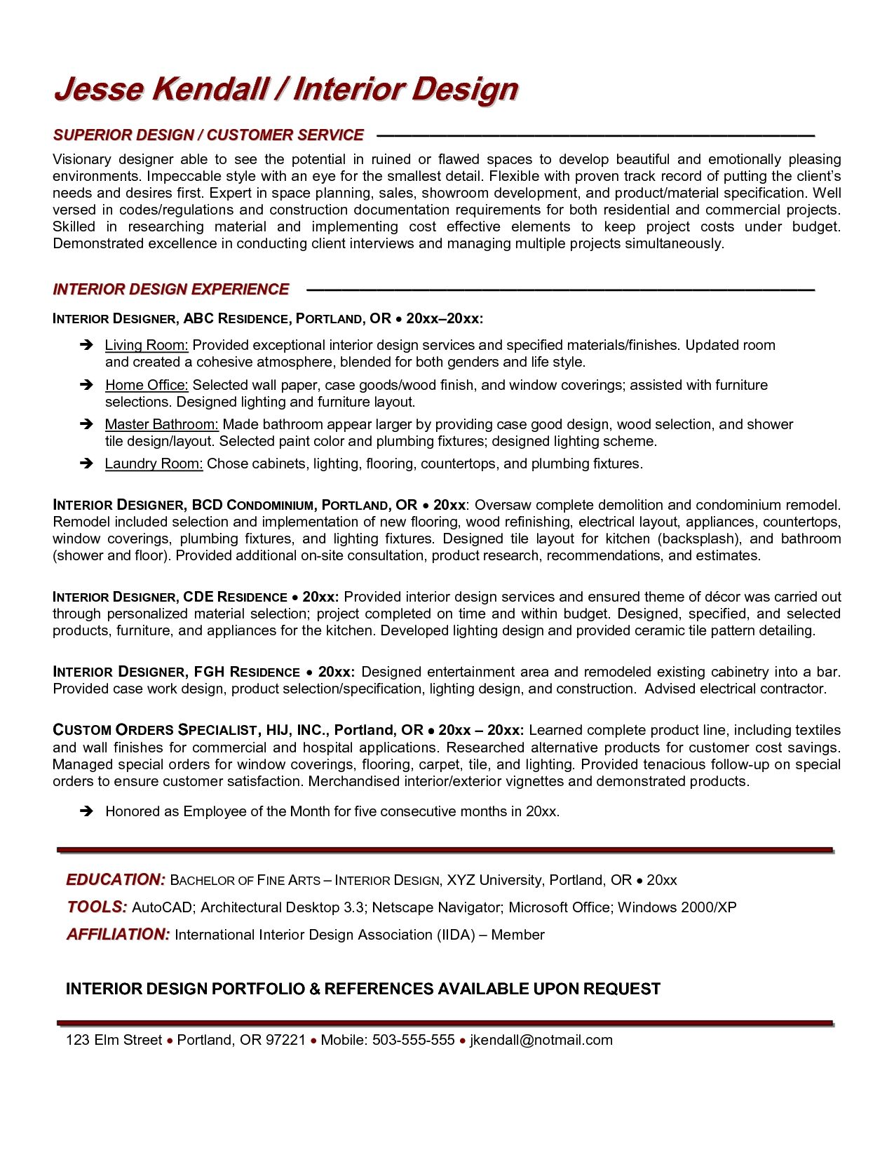 Interior Design Resume Sample Designer Resumes Resume Work