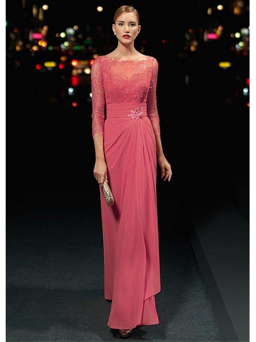 Bateau Neckline 3/4 Length Sleeves Lace Chiffon Prom Formal Evening ...