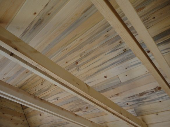 blue stain pine tongue and groove ceiling. | beams/ceilings