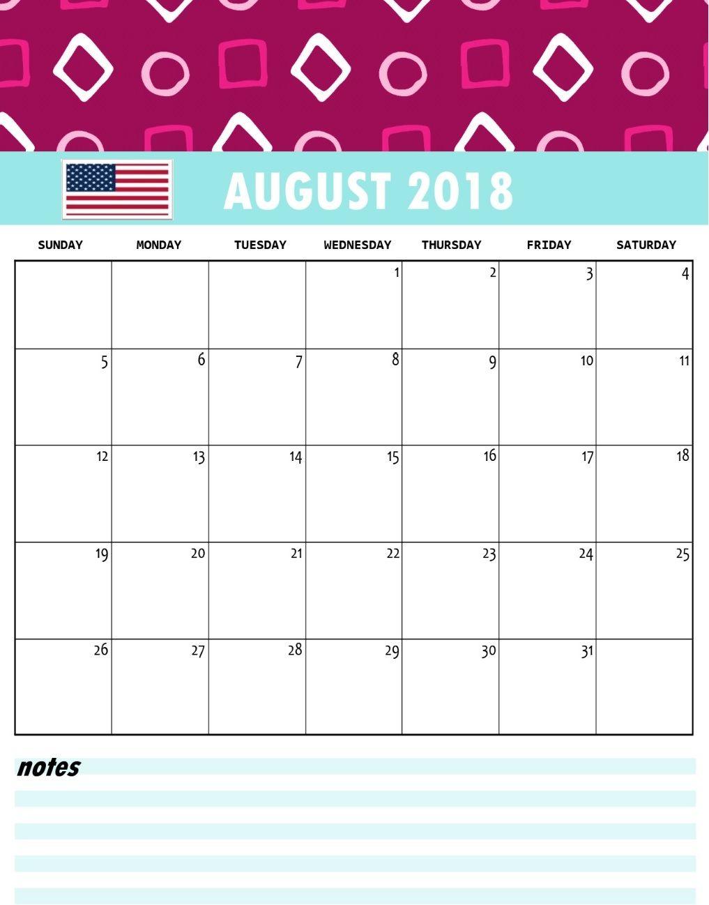 August 2018 USA Holidays Calendar | Calendar 2018 | Pinterest