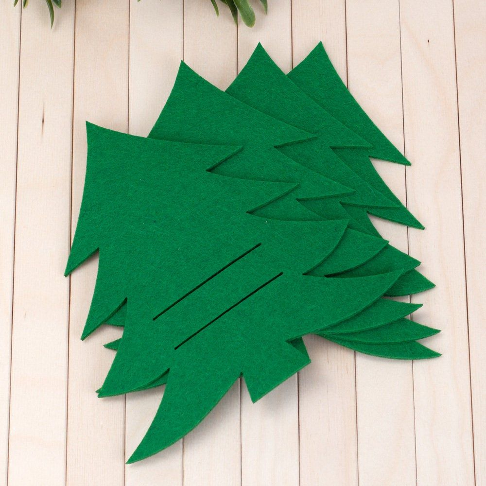 4 Stück grün Laser geschnitten Kiefer Filz Silberbesteck Halter 18 cm (7,08 Zoll)