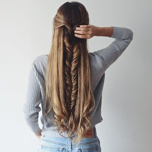 Autumn Braid Denim Fall Fashion Girl Hair Look Love Ootd Outfit Shorts Style Sweater Tumblr Winte Hair Styles Long Hair Styles Thick Hair Styles