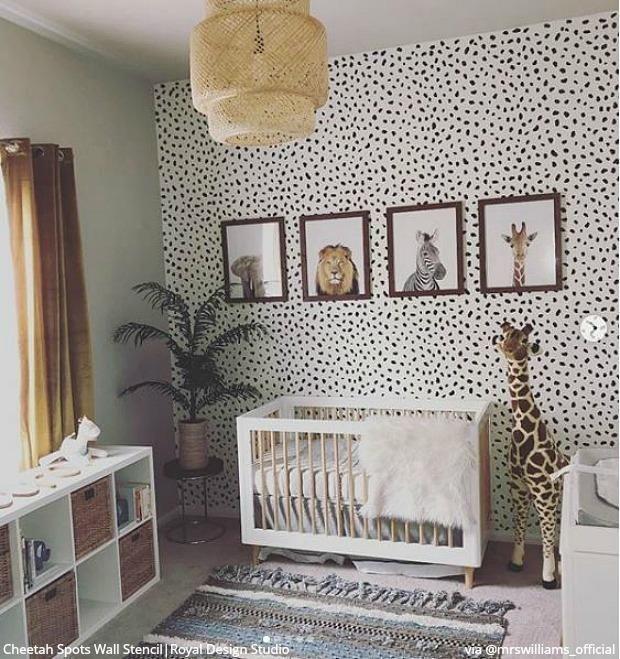 Cheetah Spots Wall Stencil - In den ersten Monaten wird Ihr Baby die Spielzeuge bevorzugen, die es
