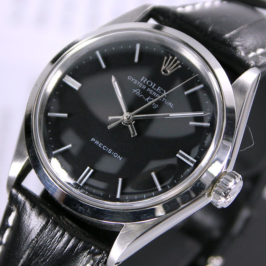 5ac038f0e302a 1960s Vintage Rolex Oyster Perpetual Air King 5500 Automatic Black Men s  Watch  Rolex  LuxuryDressStyles
