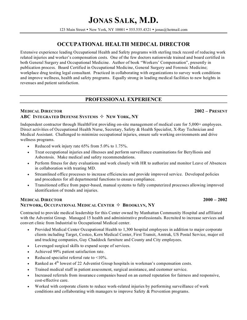 Medical Director Resume Sample Medical Director Resume