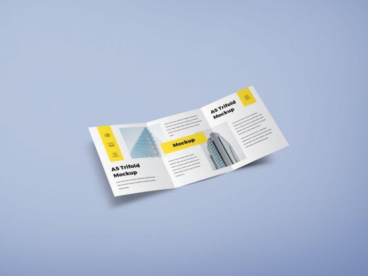 A5 Trifold Free Mockup Psd Mockup Free Psd Mockup Psd Trifold Brochure Design