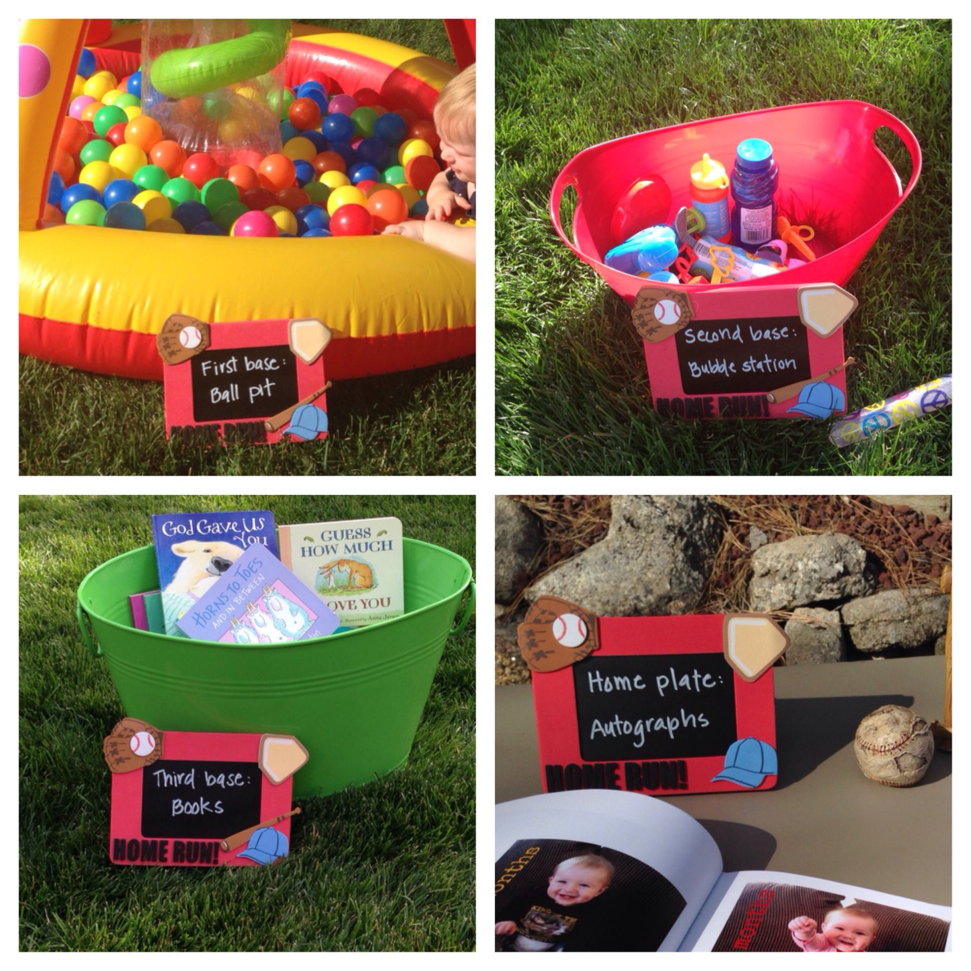 Baseball themed first birthday party activities at each