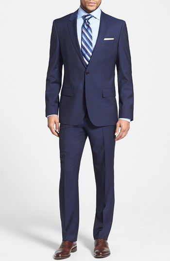 4e32077c6 BOSS HUGO BOSS 'Huge/Genius' Trim Fit Navy Wool Suit available at #Nordstrom