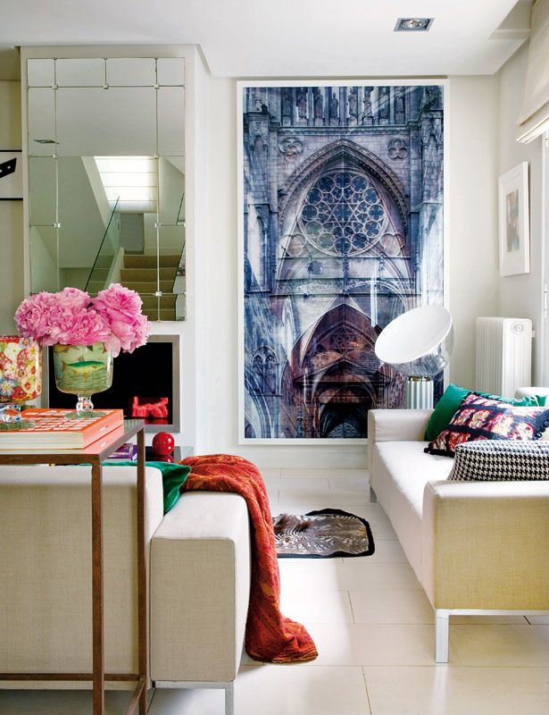 this oversized photograph of a cathedral makes this room appear rh pinterest es