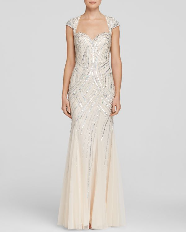Sean Collection Gown - Cap Sleeve Sweetheart Neck Open Back Embellished Mesh Godet