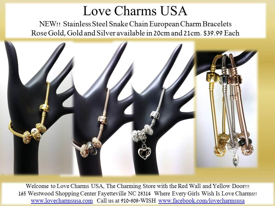 Our beautiful Stainless Steel European Charm bracets!!! Only $39.99 See some the unique jewelry available in our store