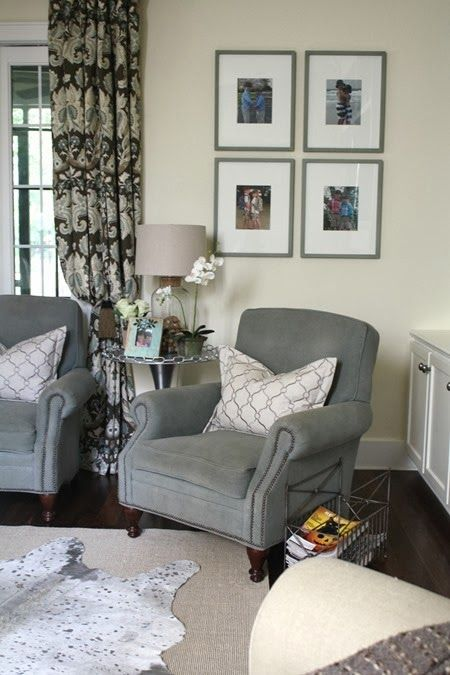 Living Room Chair Color And How Its Incorporated Into The Picture Frames Drape Accent