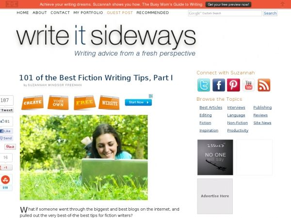 101 of the Best Fiction Writing Tips, Part I