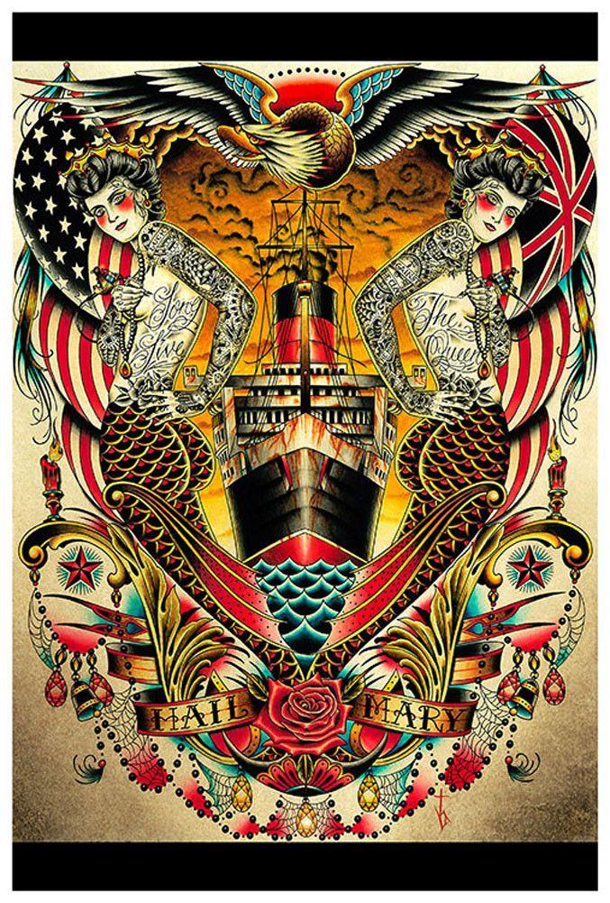 Mermaid tattoos, Tattoo posters