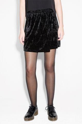 Monki Image 3 of Velvet mini skirt in Black