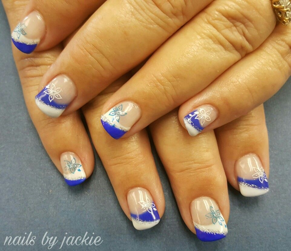 Young Nails Gel Blue And White French Nail Art With Flowers Nails By