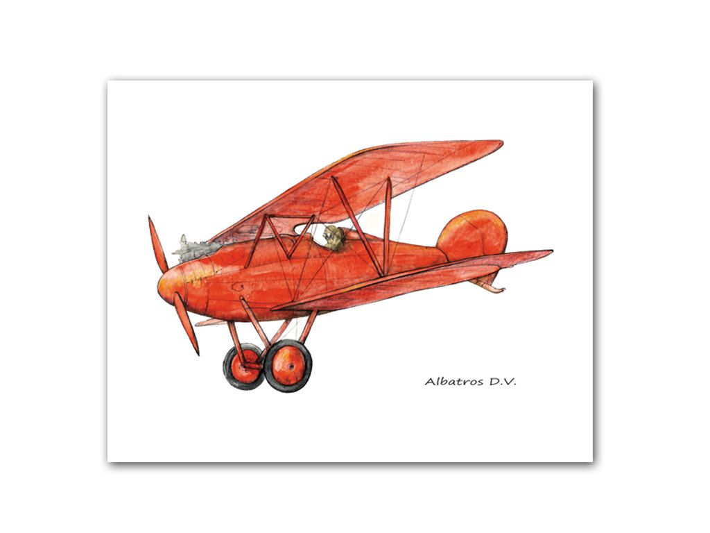 Red Airplane Decor Military Retro Airplanes Print Albatros Warercolor Prop Aircraft Poster Boy S Nursery Transportation Art