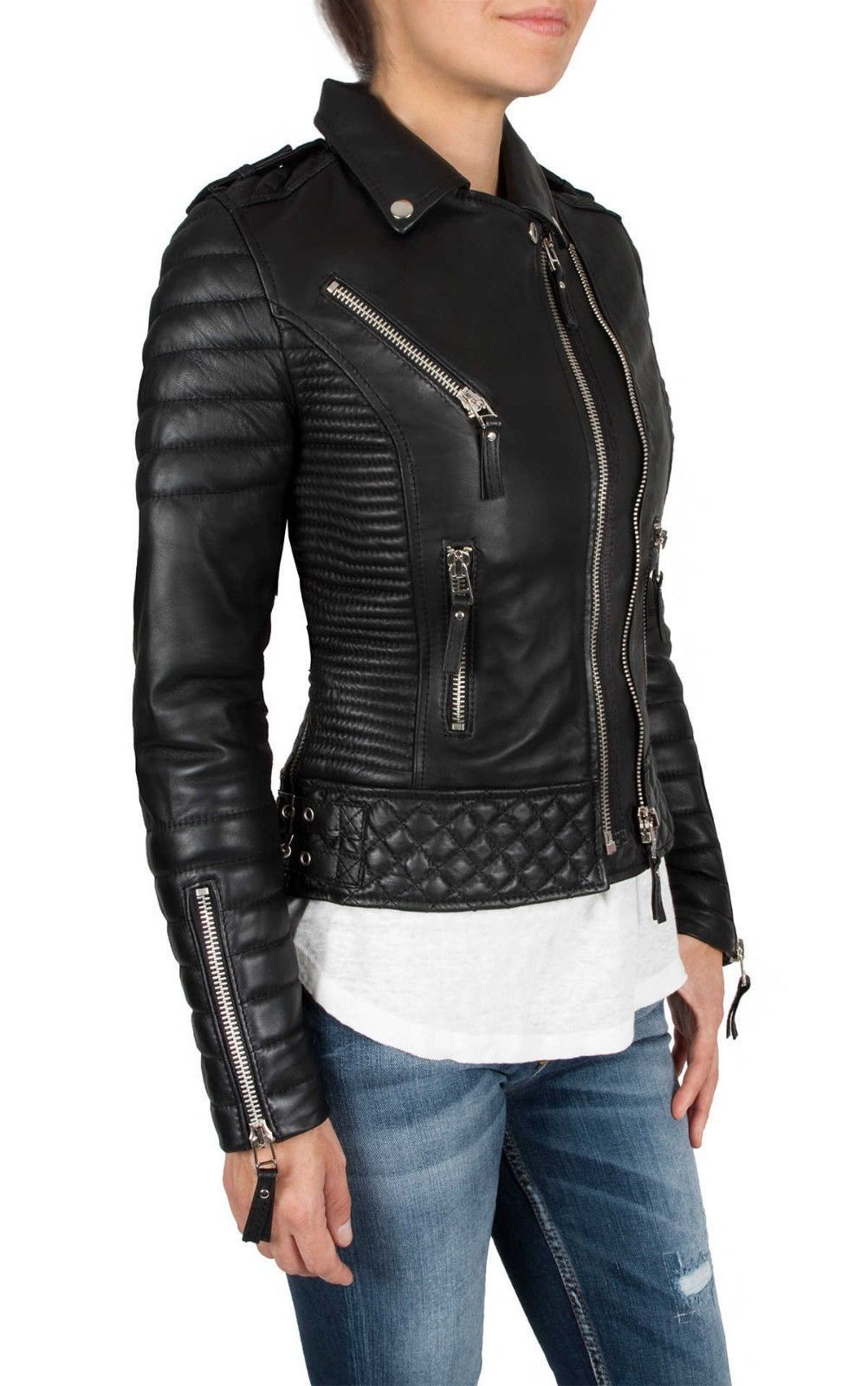 Brand Women'S Motorcycle Soft Genuine Lambskin Leather