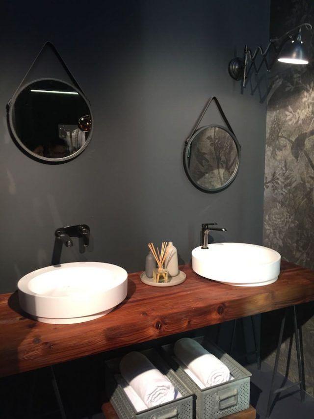 plan de travail salle de bain en bois 2 vasques poser rondes