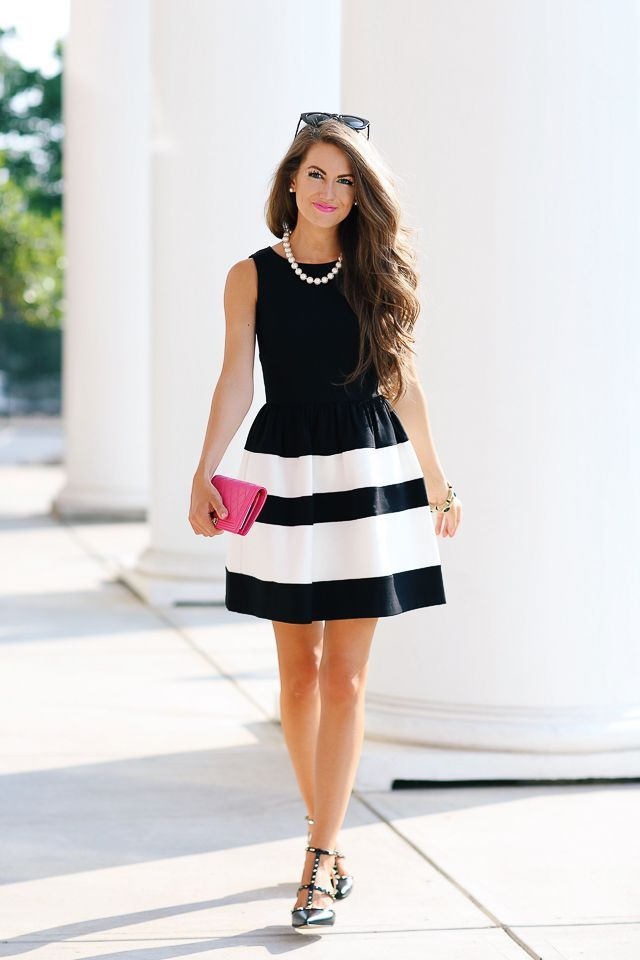 Black And White Dress Very Audrey Hepburn Perfect For A Formal Summer Wedding Preppy Style Outfits Fashion Outfits Fashion