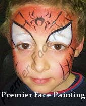 This is such a great spiderman face paint, they're not caked in bright red. love it!
