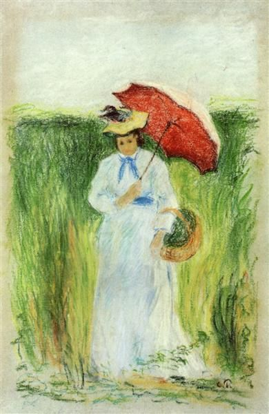 Young Woman With An Umbrella 1877 1880 Camille Pissarro Art