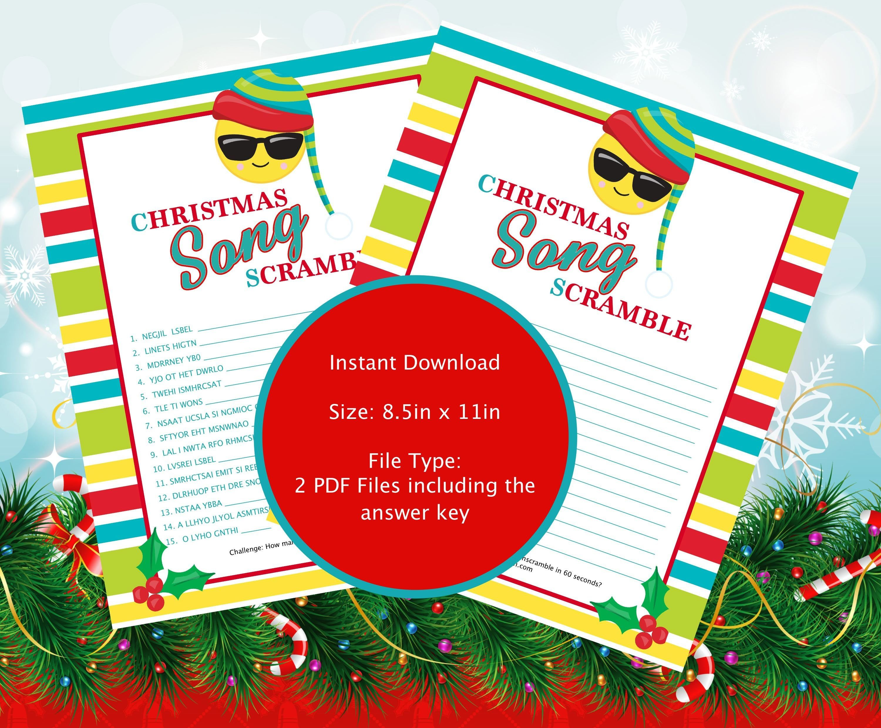 Christmas Song Scramble Game (Instant Download) Songs