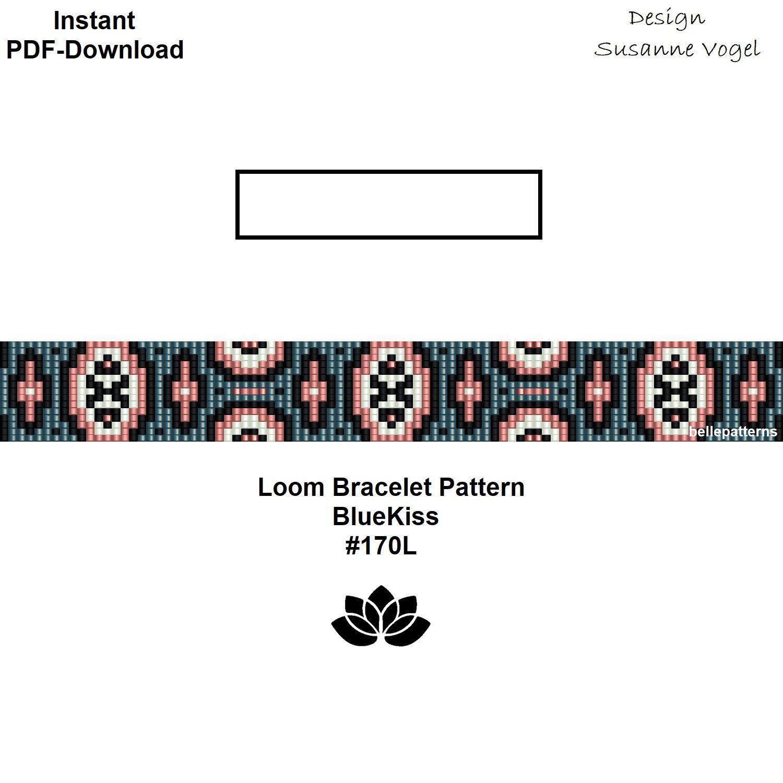loom bracelet pattern,pdf-download,DIY,#170L,BlueKiss,cuff ...