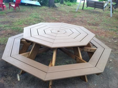 Trex Octagonal Picnic Table Do It Yourself Home Projects From Ana White Octagon Picnic Table Octagon Picnic Table Plans Picnic Table Plans