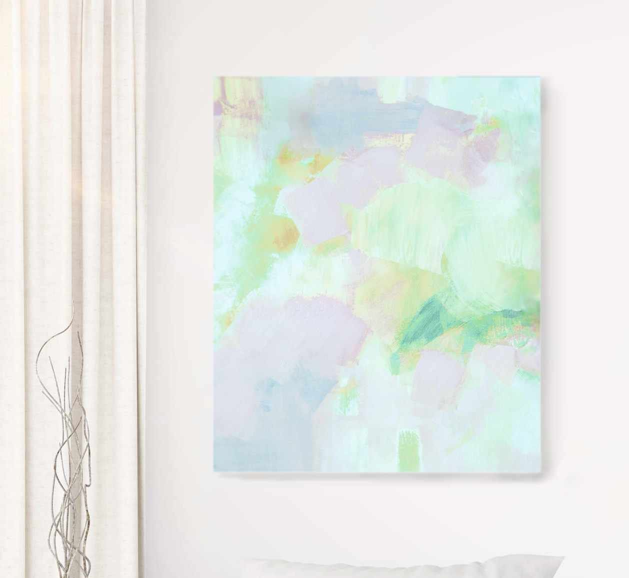 Pale Mint Sky Abstract Fine Art Print Embellished Canvas Soft Grey Wall Art Office Decor Uk Grey Wall Art Abstract Fine Art Prints