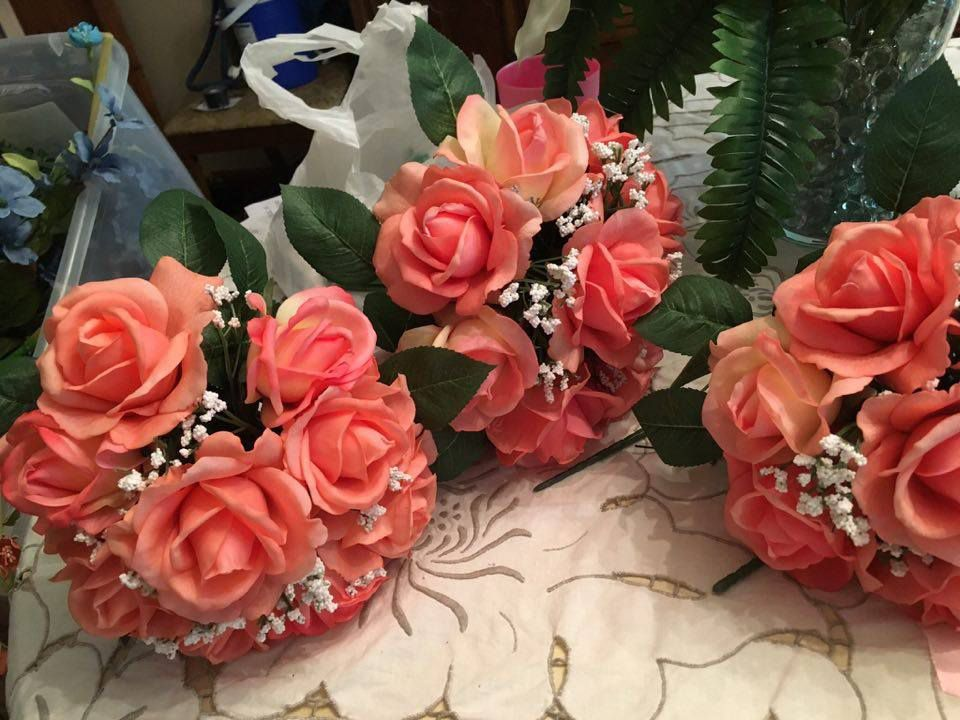 Bridesmaid bouquets. Purchased from Hobby Lobby. Wrapped stems with ...