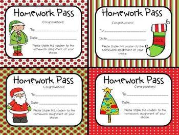 FREE Christmas Homework Passes   Christmas   Homework pass ...