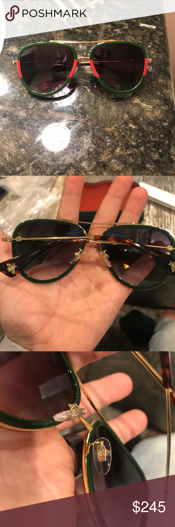 f8529b97fdc Gucci 100% Authentic Aviator sunglasses GG 0062 Gucci GG 0062 please review  photos. Actual photos of sunglasses. Sickening! Retail at Bloomingdales is   400 ...