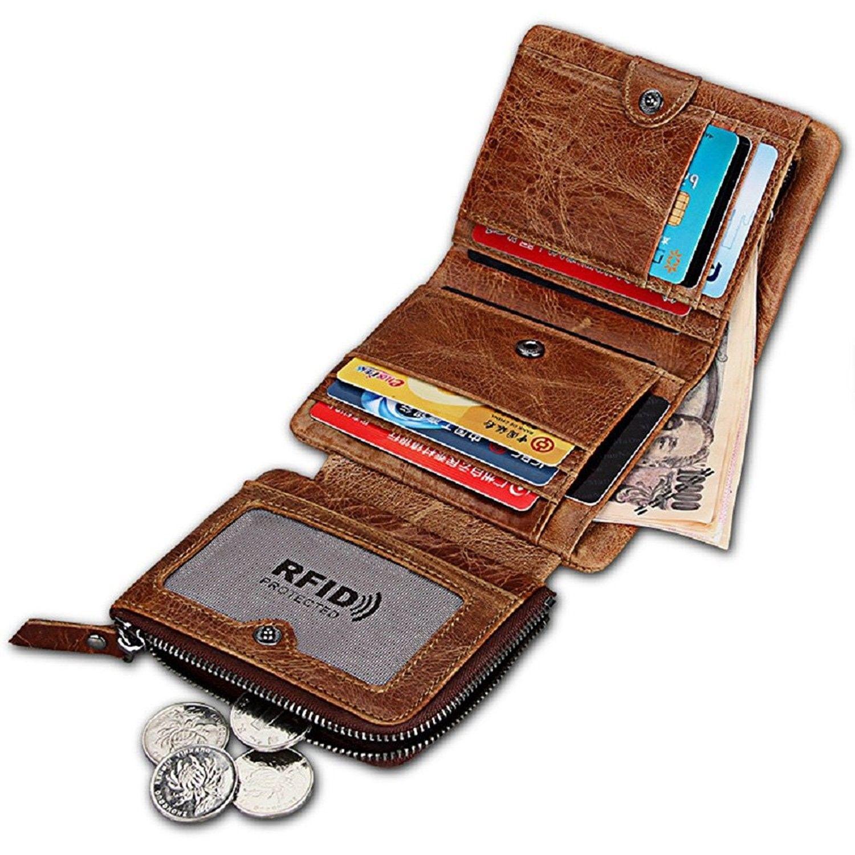 Men S Bags Wallets Men Rfid Blocking Trifold Wallet Vintage Leather Bifold Zipper Pocket Card Holder Leather Wallet Mens Mens Leather Bag Handbags For Men