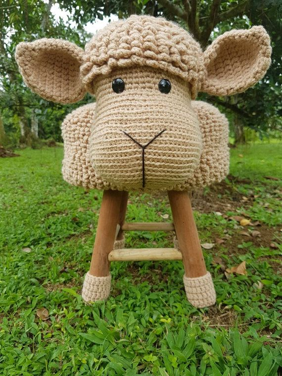Sheep Stool Cover Crochet English Pattern Ideen Häkeln Decke