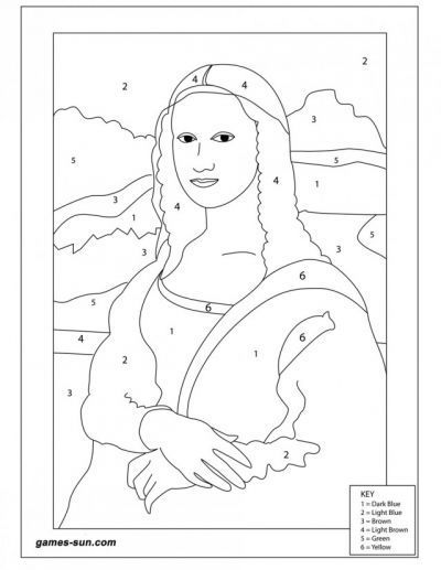 Mona Lisa Color By Number: | Coloring Pages | Pinterest | Mona lisa ...