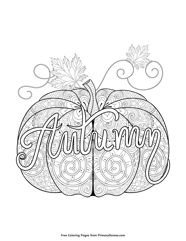 Fall Coloring Page Autumn Pumpkin Zentangle Free printable