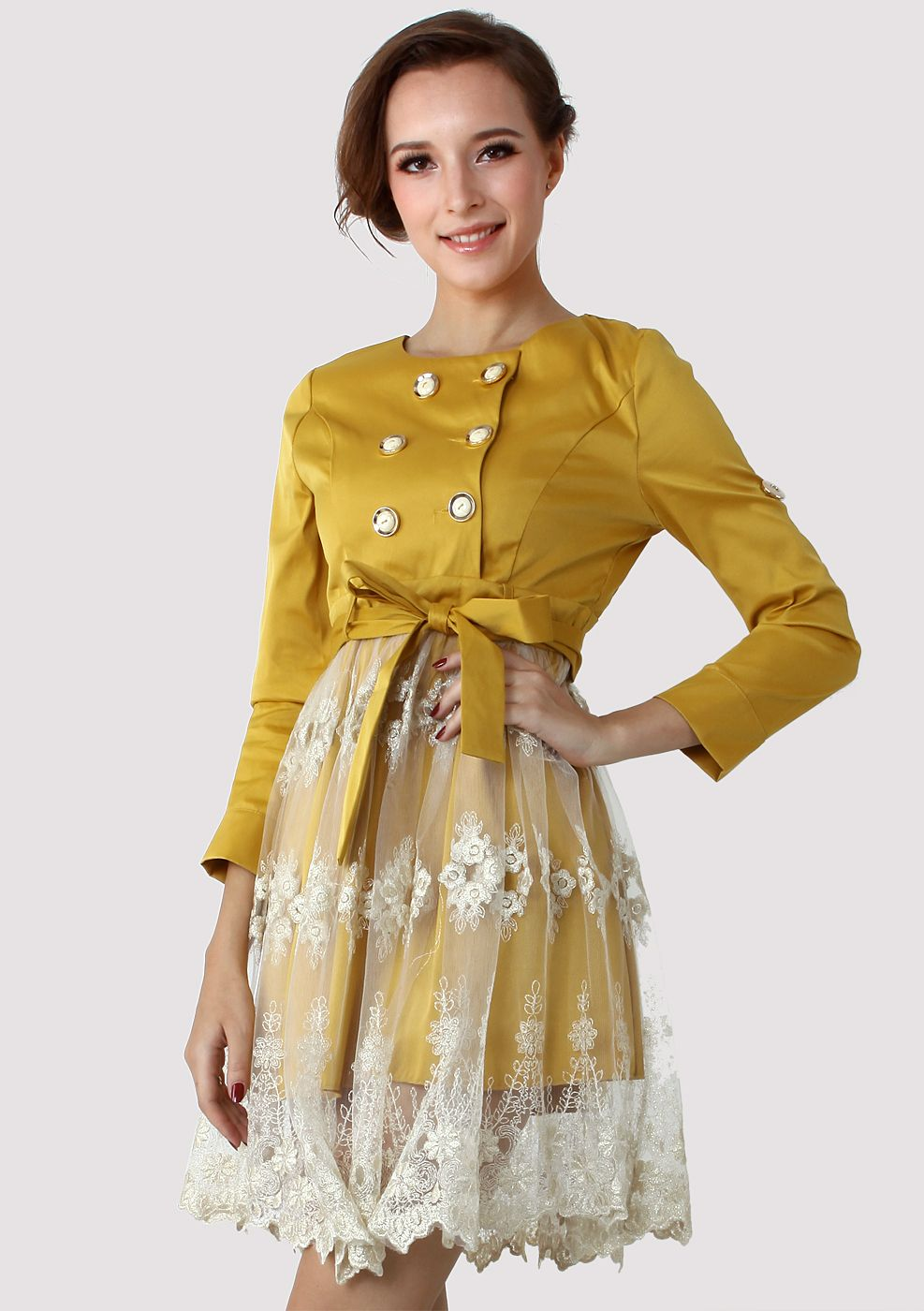 Double Breasted Lace Skirt Dress in Mustard....would wear with a pencil skirt...