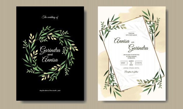 Wedding Invitation Card Template Set With Tropical Leaves