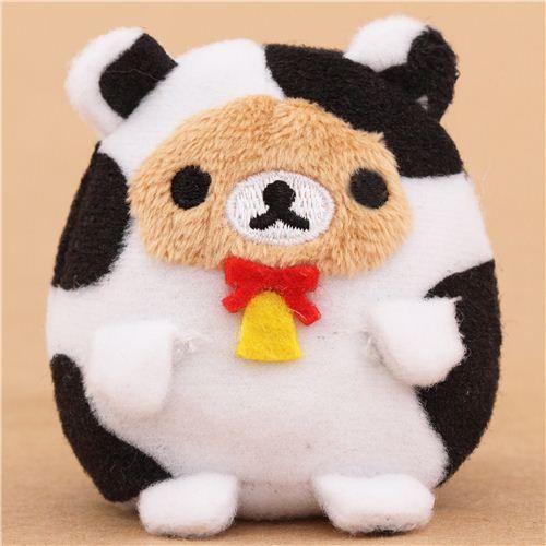 Japanese Plush Toys : Mini rilakkuma brown bear as cow plush toy by san from