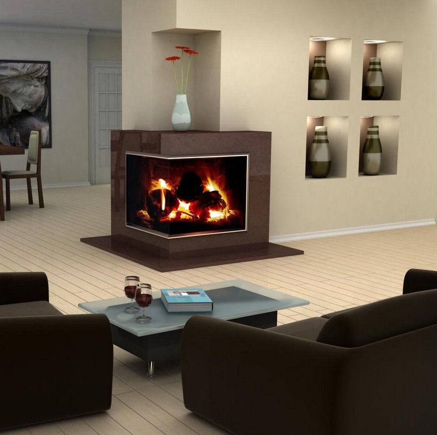 modern design idea for two sided corner fireplace living room