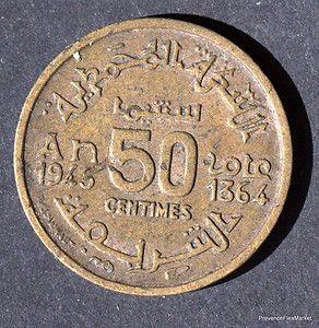Maroc Marruecos Morocco 50 Centimes Bronze Empire Chérifien