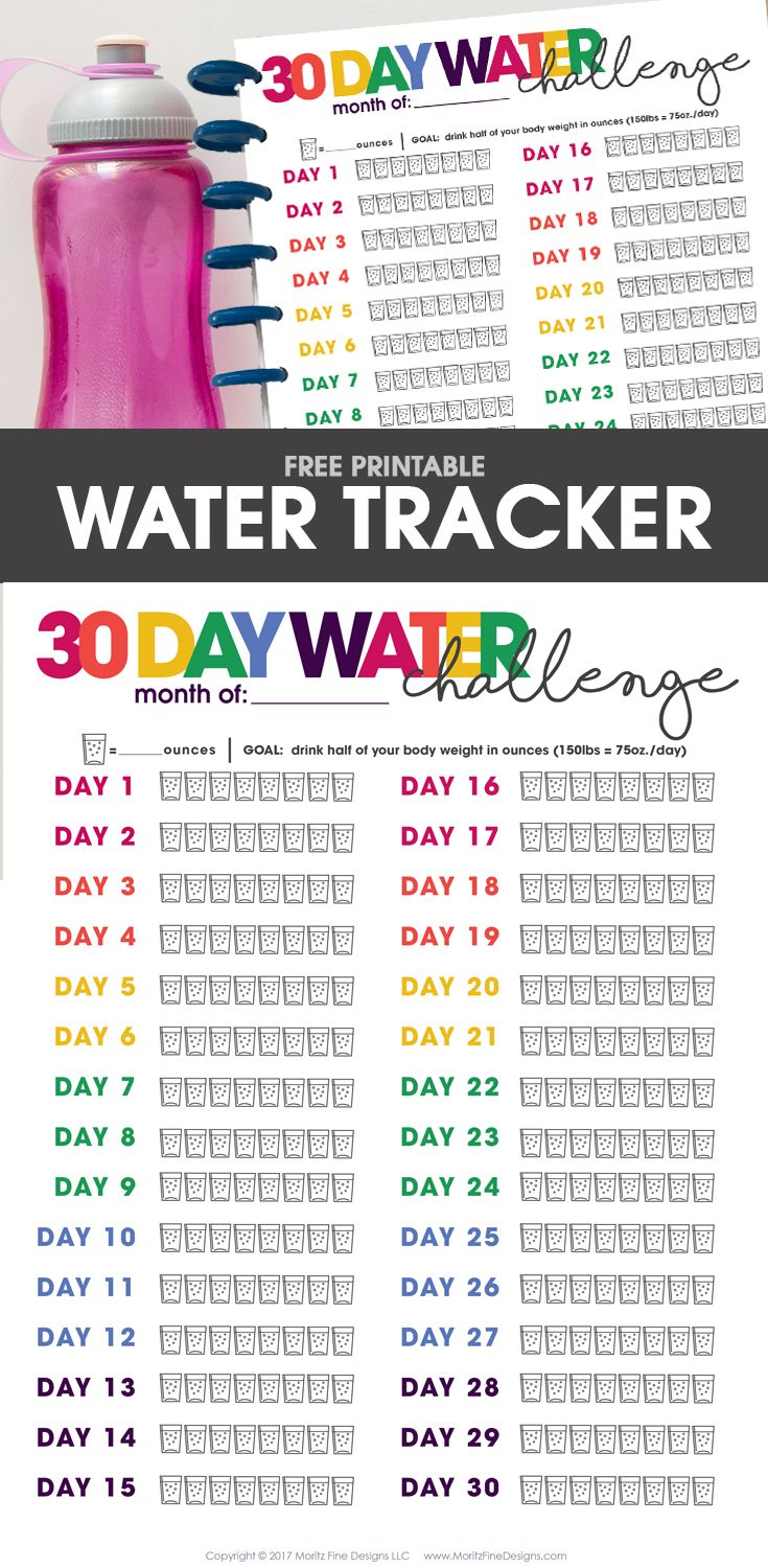 Free Printable Water Tracker 30 Day Challenge Water Challenge Water Tracker Goals Printable