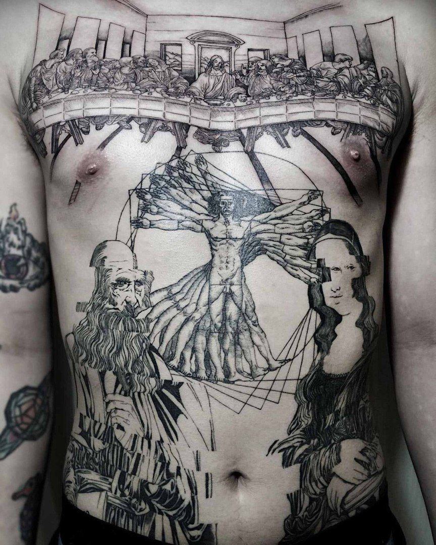 Huge Chest Piece And Stomach Tattoo Inspired By Leonardo