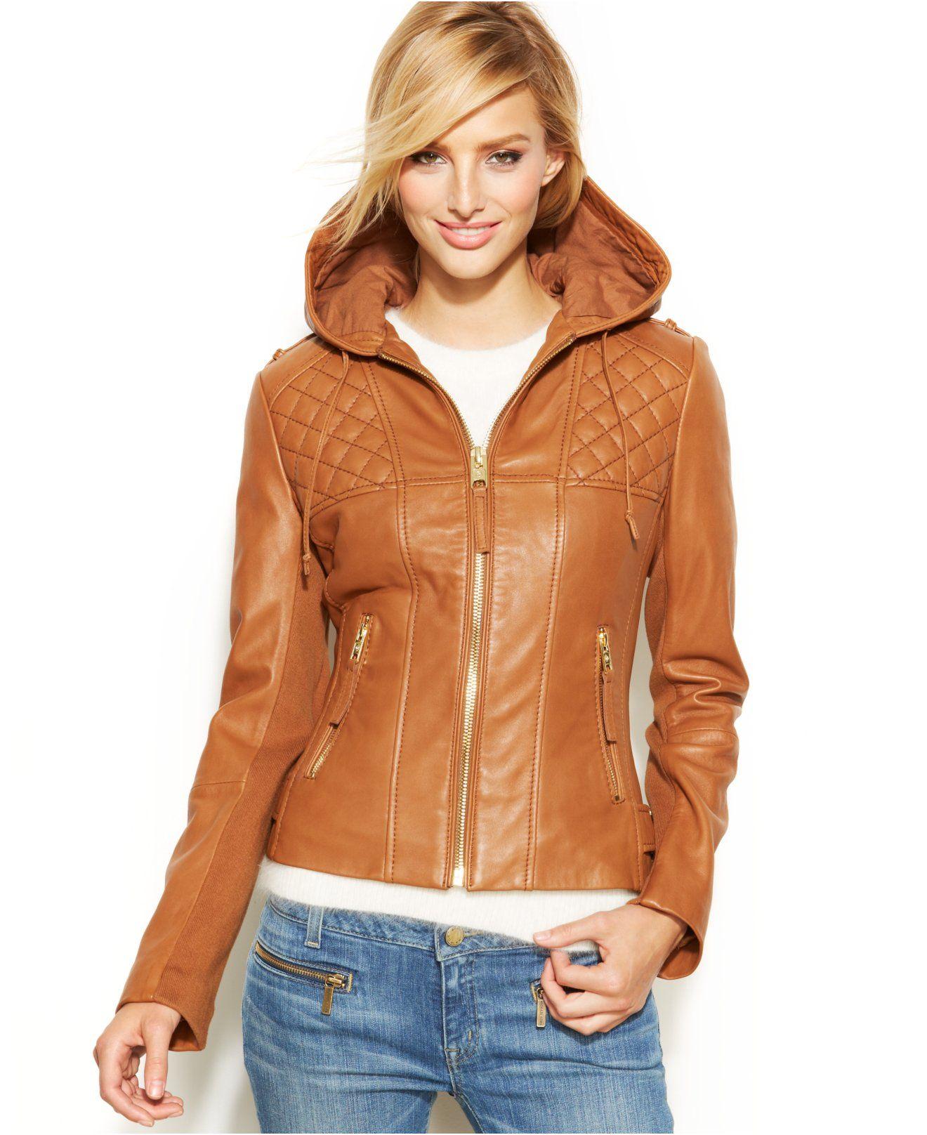 MICHAEL Michael Kors Hooded Leather Motorcycle Jacket