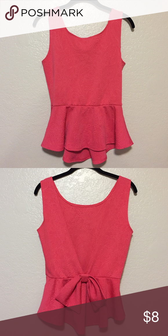 Peplum bow back top Size medium, hot pink tank top, peplum with a open back, bow detail Love Culture Tops Blouses