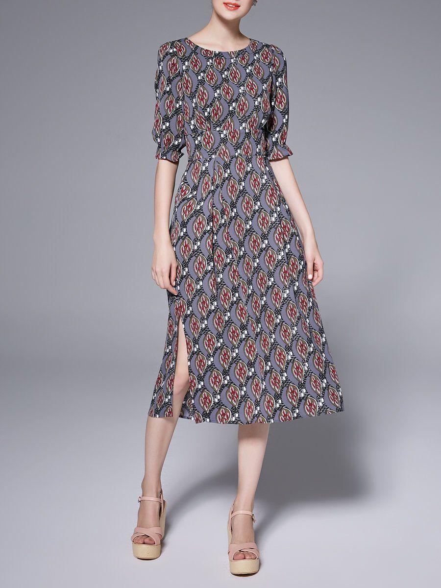Adorewe Stylewe Designer Midi Dresses Designer Ke Ying Yi Gray Crew Neck Folds Printed Vintage Midi Dress Adorewe Co Vintage Midi Dresses Dresses Fashion [ 1200 x 900 Pixel ]
